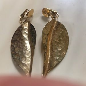 Jewelry - Hammered textured clip on golden leaf earrings